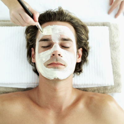 Man facial, skincare, relaxation, massage