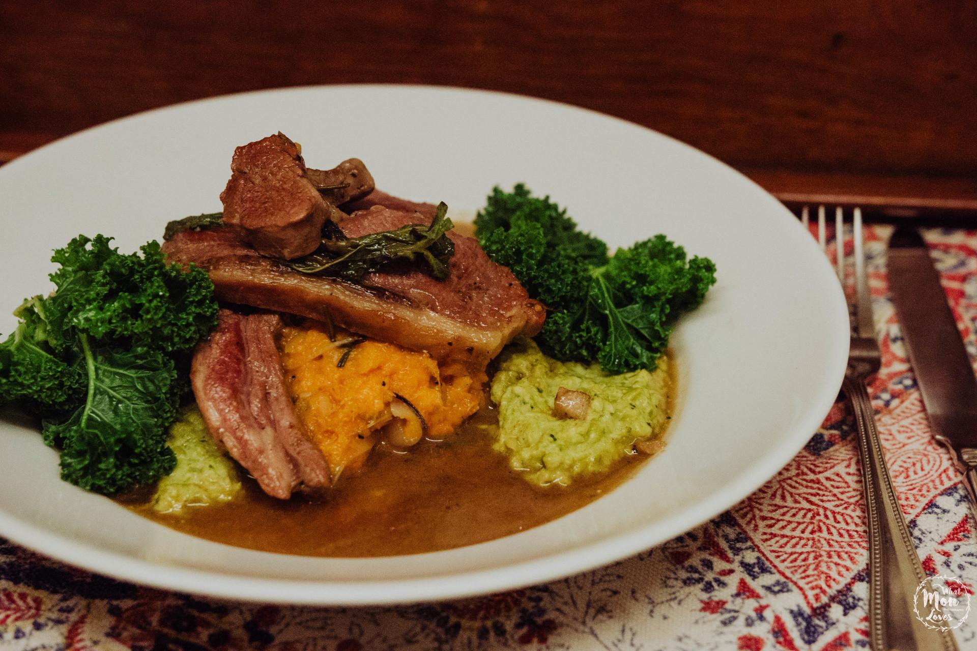 Pan cooked leg of lamb steak