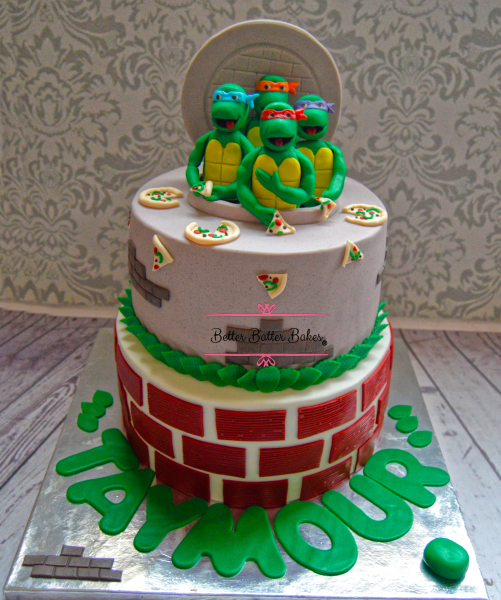 betterbatterbales, better batter bakes, cake, alleatable, birthday cake, customized, customized cake, party, birthday party, ninja turtles, ninja, ninjacake, kids cake, red