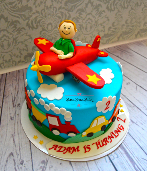 betterbatterbales, better batter bakes, cake, alleatable, birthday cake, customized, customized cake, party, birthday party plane, pilot, pilot cake, cars, train, sky, kids cake, red