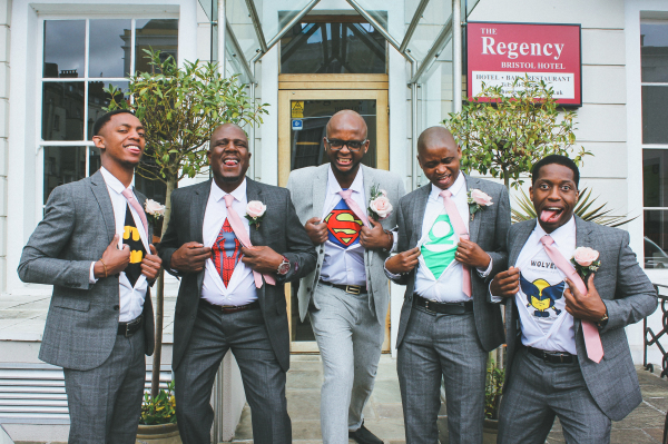 "<alt=""artistic wedding photography super hero groom gloucestershire"">"