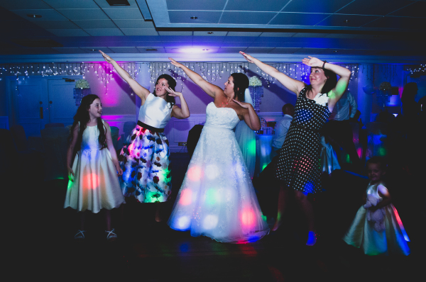 Dabbing bride and party