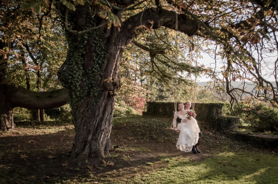 Afternoon tea wedding with sparklers at Glenfall House, Cheltenham