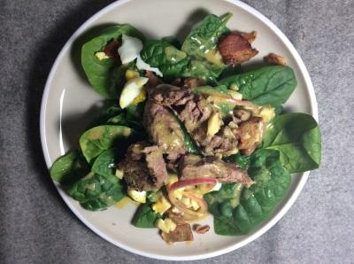 Spinach Salad with Dijon Vinaigrette & Filet Mignon