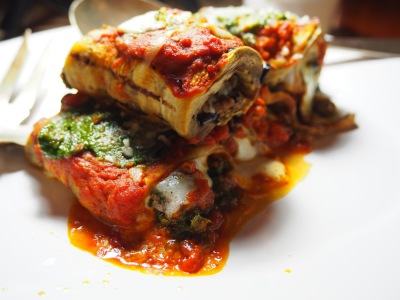 Eggplant Rollatini with Arugula Pesto