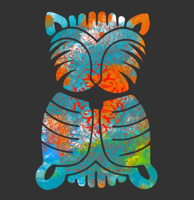 Combination, colorful, colorfully,watercolor, Arabesques,gilding,Iranian art, Cat, ancient Iran , ancient Egypt, design, watercolor, gilding, ancient, Iranian art, blue, orange