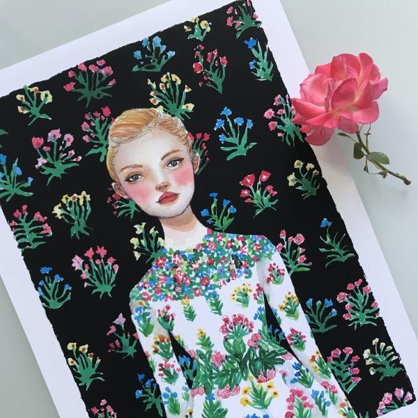 fashion illustration, glicee print, watercolor