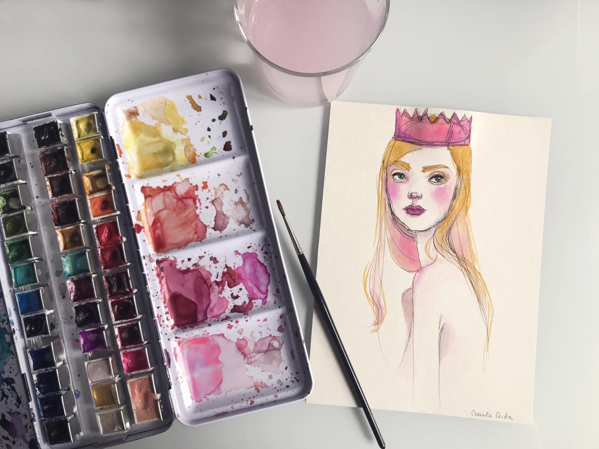 *Princess* original watercolor artwork SOLD