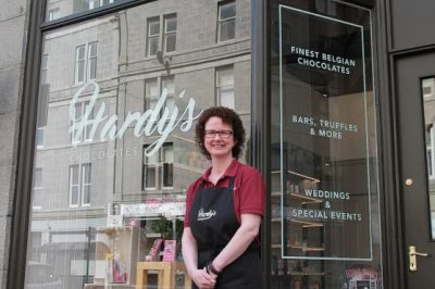 Lisa at Hardy's Chocolate shop