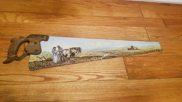 Antique hand-painted hand saw