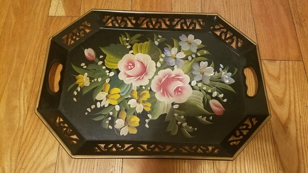 Vintage flower- painted metal tray