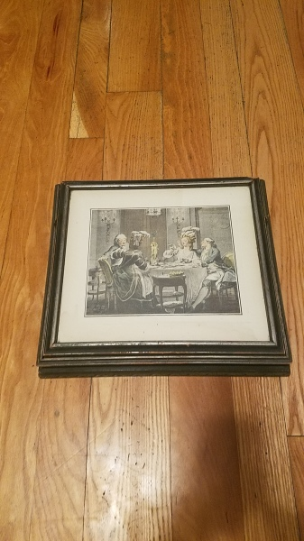 Large antique gilt wood jewelry box with framed art print and mirror (closed)