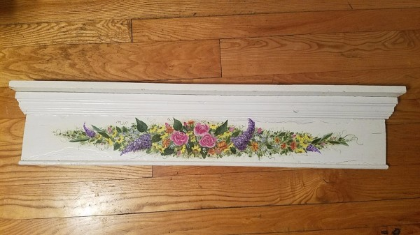 4 foot repurposed hand-painted mantel