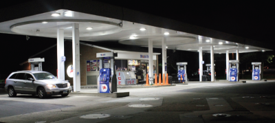 Gas station canopy LED lighting