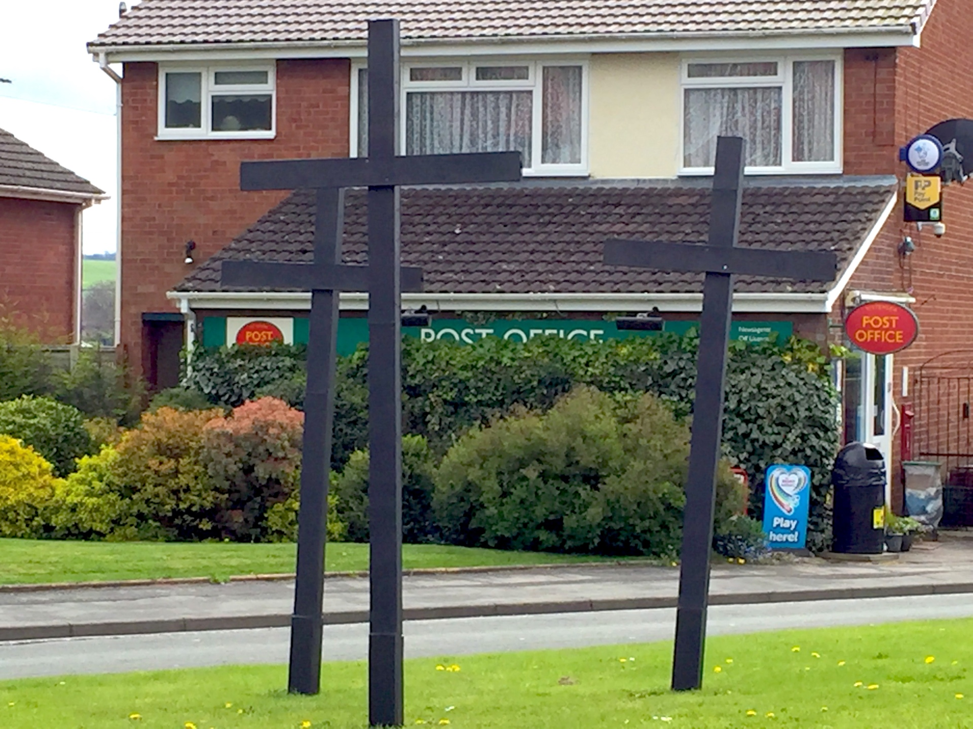 The crosses outside the Post Office