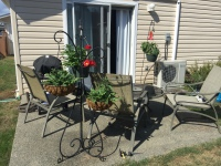 Backyard patio of nice home for sale at Saanichton over 55 complex