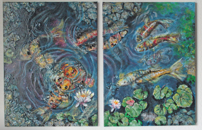 diptych Koi Pond for sale $600