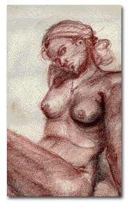Female pose, red charcoal