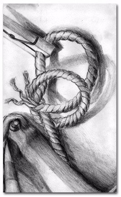 Rope study, charcoal & pencil