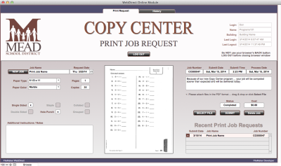 Copy Center WebDirect Job Submission