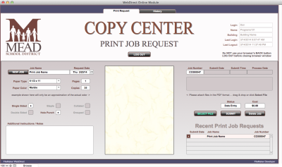 Copy Center WebDirect Job Request