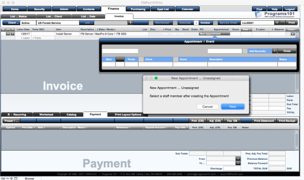 FileMaker Invoice Labor Appointments