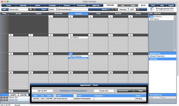 FMPro101 Appointments Module - Calendar