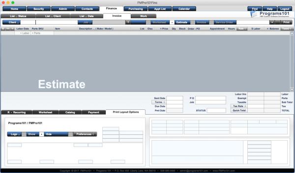 FMPro101 Finance Module - Invoice