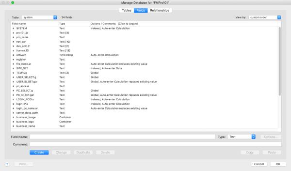 FileMaker Database Fields
