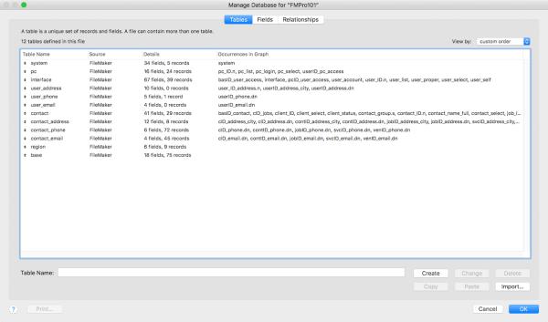 FileMaker Database Tables