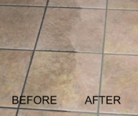 Tile flooring and grout lines steam cleaned.