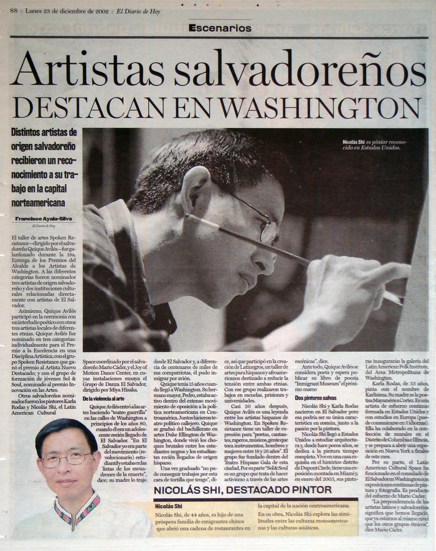 Artistas salvadorenos destacan en Washington