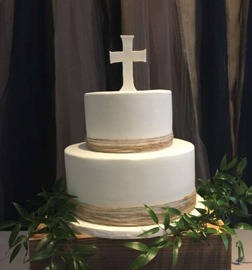 Custom Cakes NJ Simple White two tiered communion cake