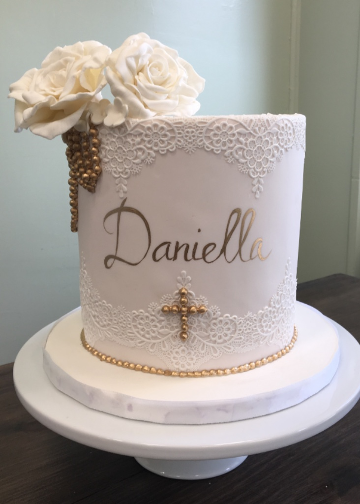 Custom cakes NJ Communion cake with lace, gold and sugar flowers