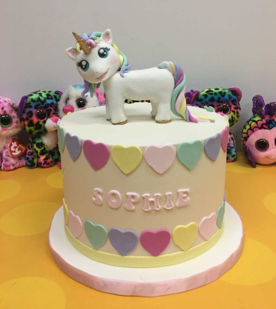 custom cakes nj Cake with fondant unicorn on top