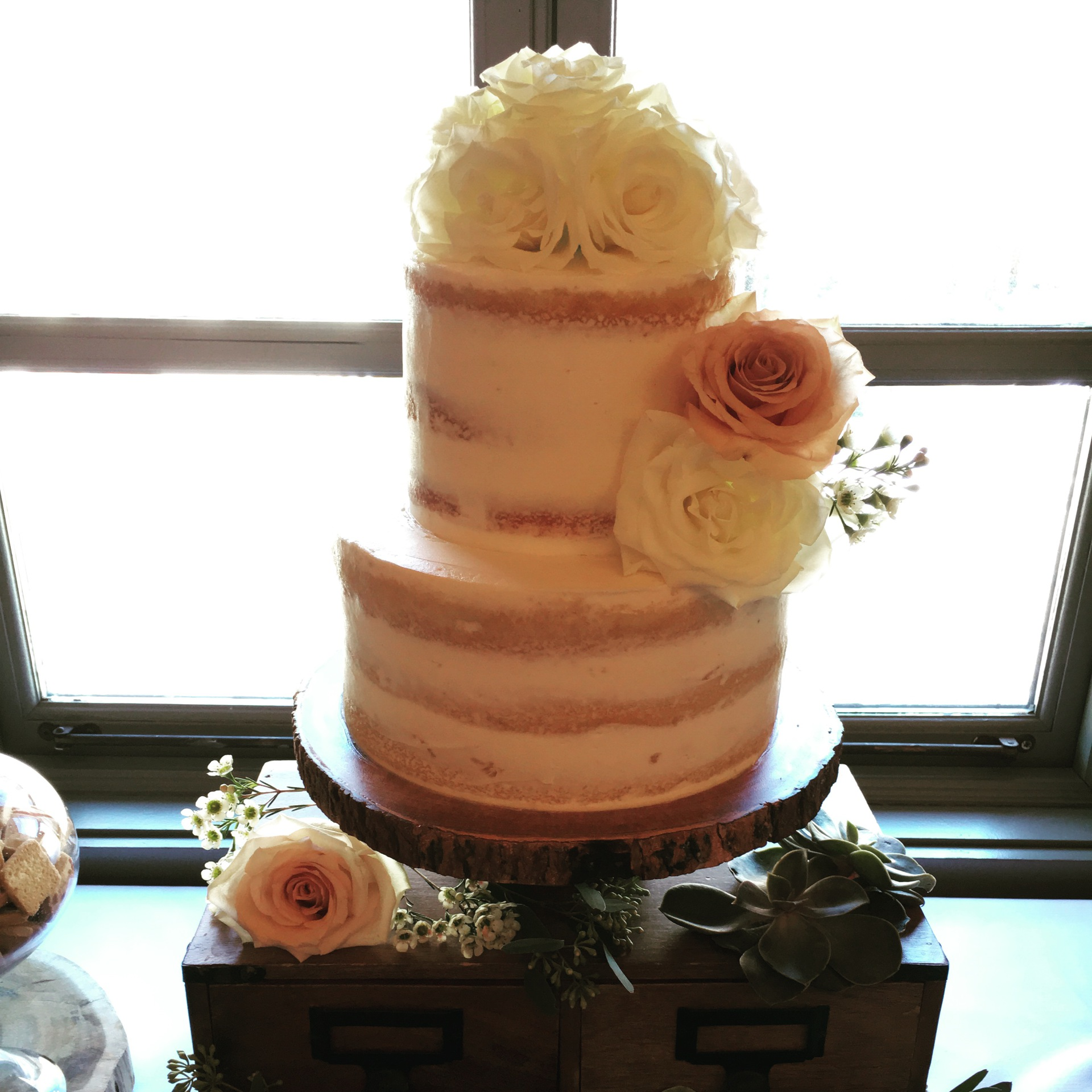 custom cakes nj semi naked cake with fresh flowers