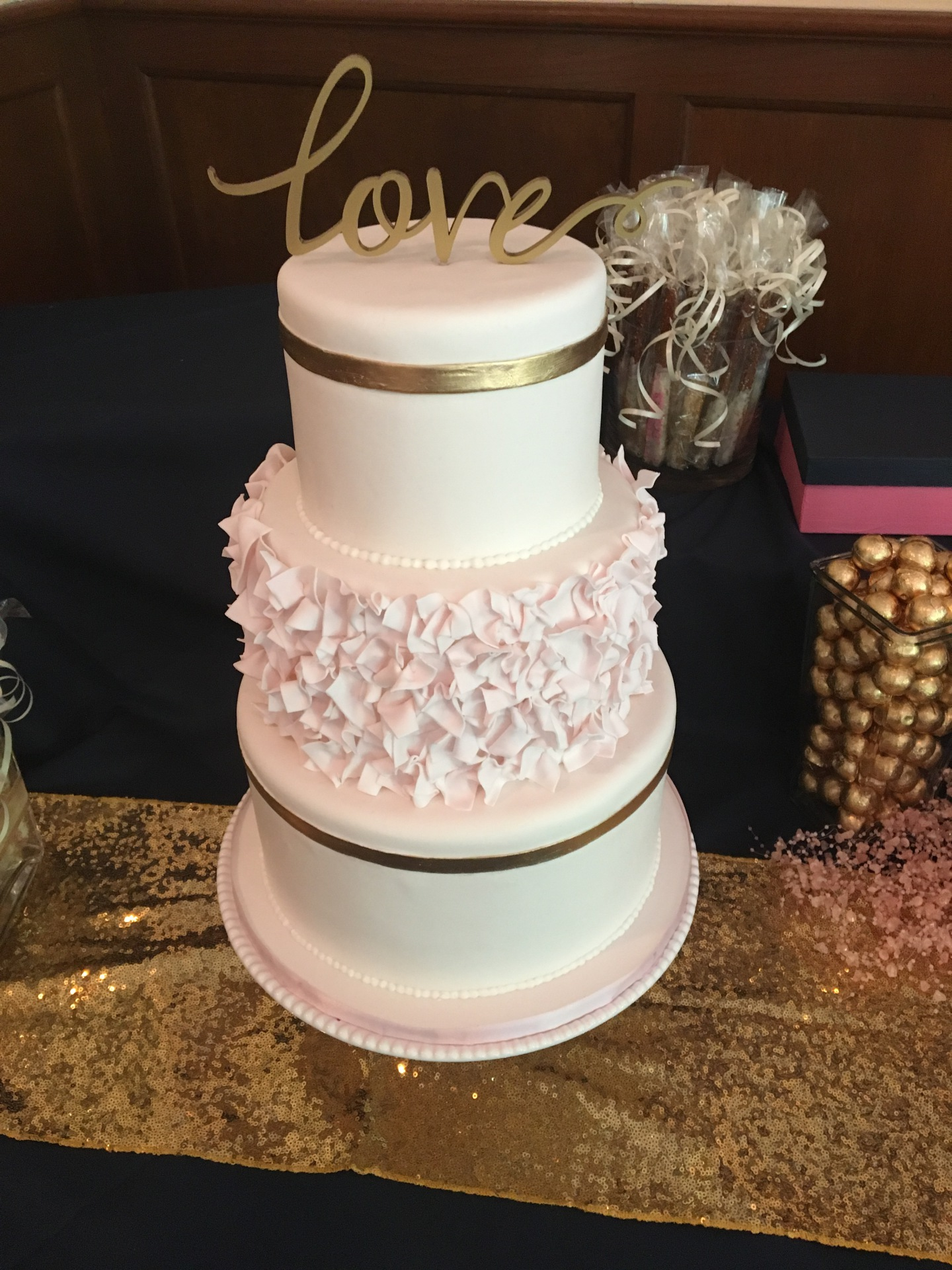 custom cakes nj pink and gold cake ruffle cake bridal shower cake