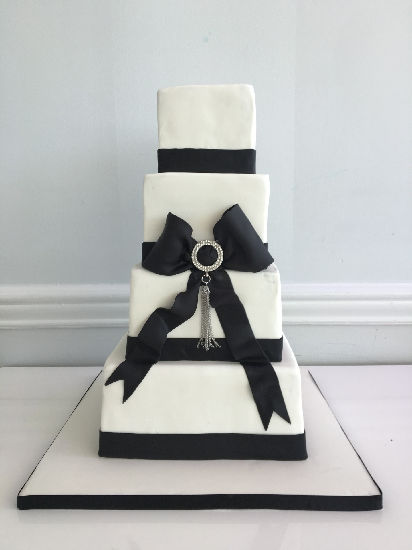 custom cakes nj Black and white square cake bridal shower cake