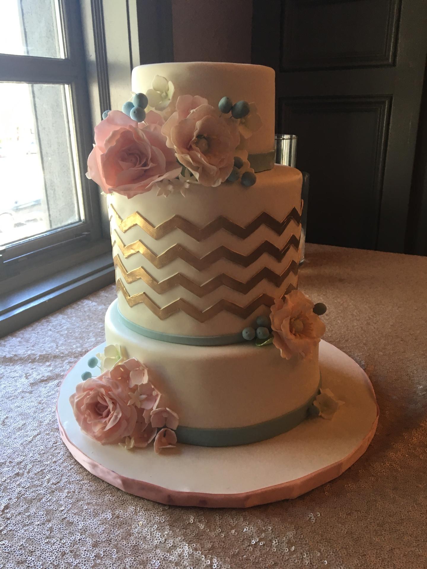 custom cakes nj gold chevron cake bridal shower cake white and gold cake