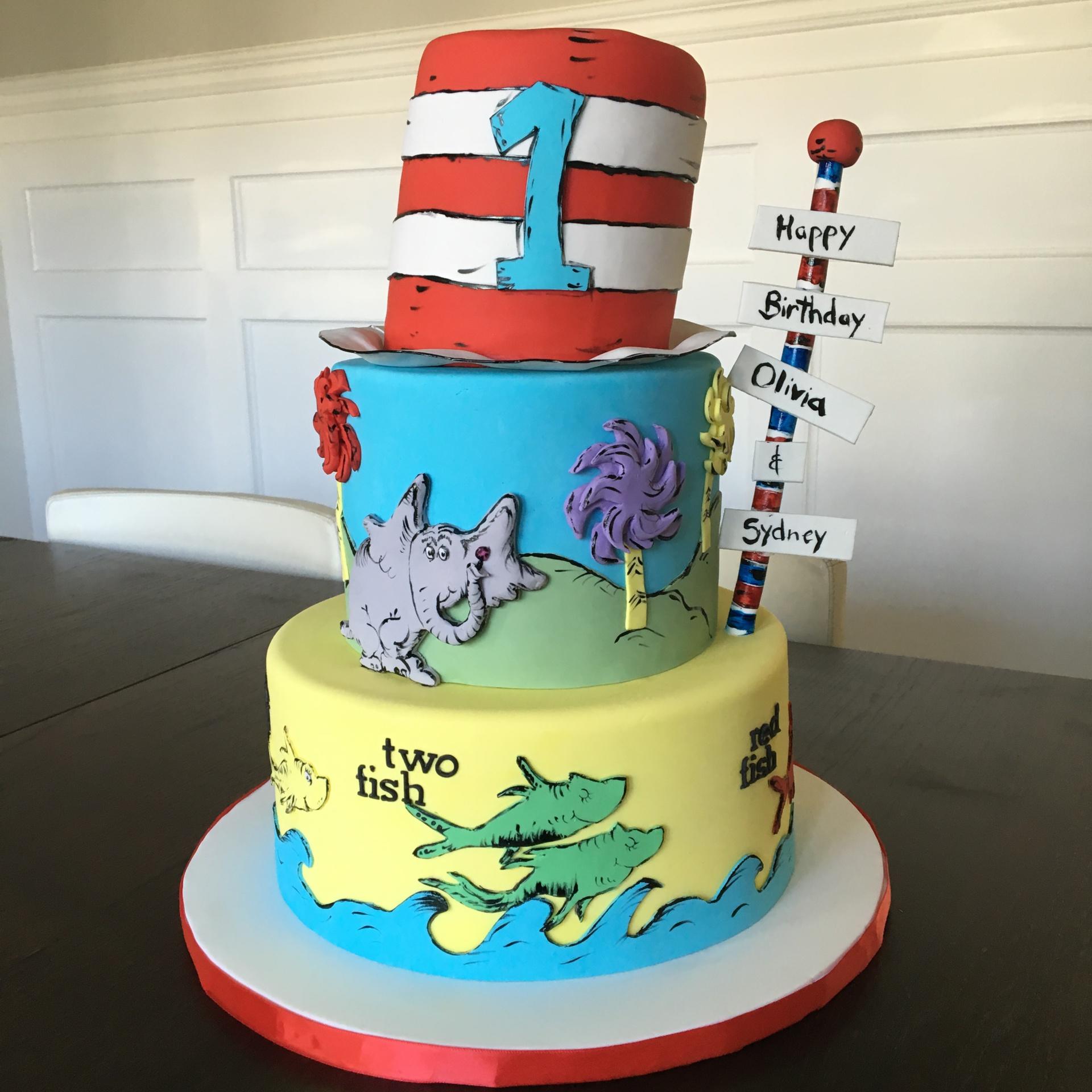 custom cakes nj dr seuss first birthday cake