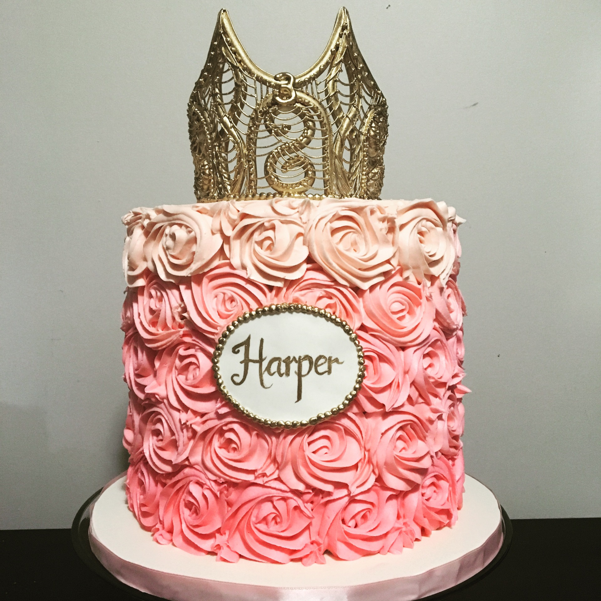 custom cakes nj pink rosette cake with gold crown