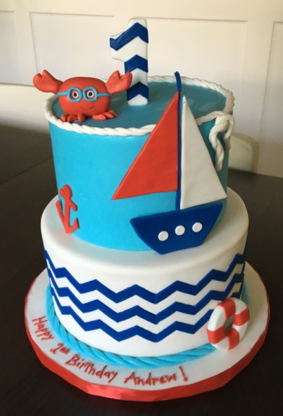 custom cake nj nautical first birthday cake