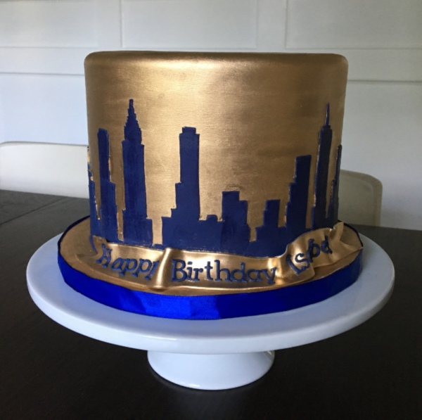 custom cakes nj NY skyline cake navy and gold cake