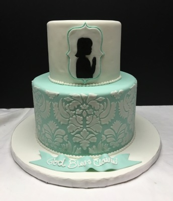 communion confirmation cake silhouette girl damask pattern