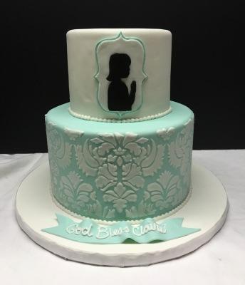 communion confirmation cake silhouette girl damask pattern