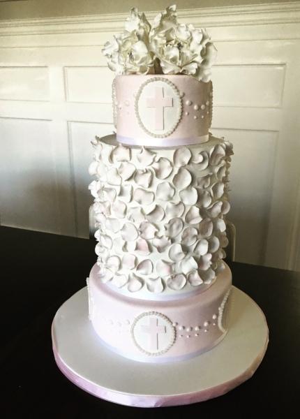 Pink Peony Baptism Cake