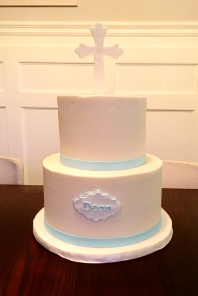 Simple Buttercream baptism cake