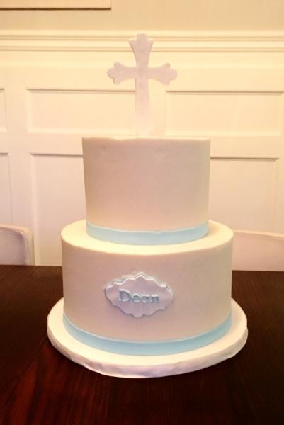 Simple Buttercream baptism cake