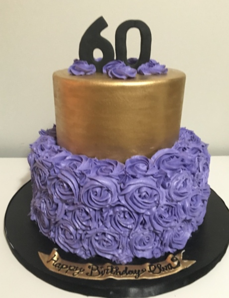 custom cakes nj sixtieth birthday cake purple gold