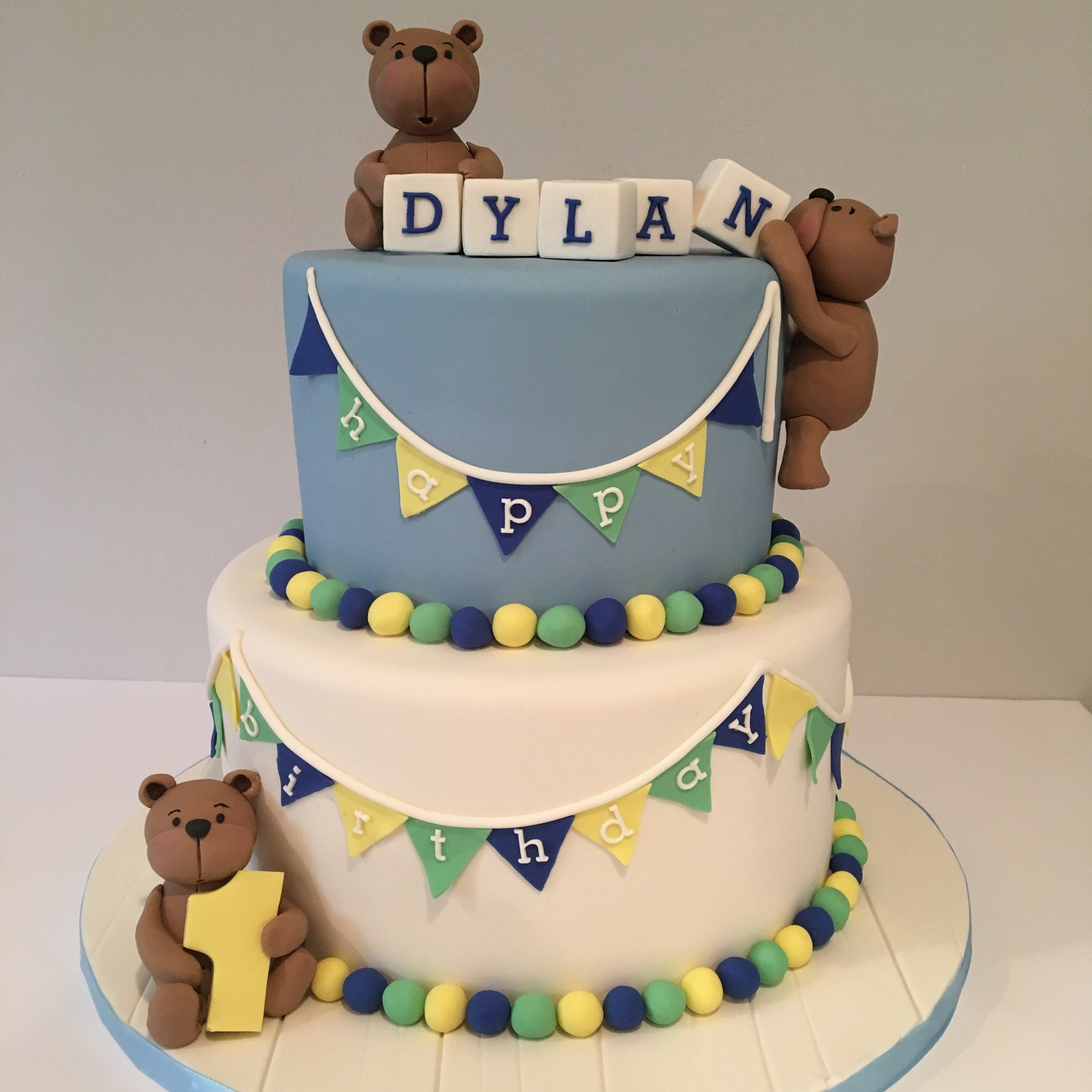 custom cake nj cute bears first birthday cake